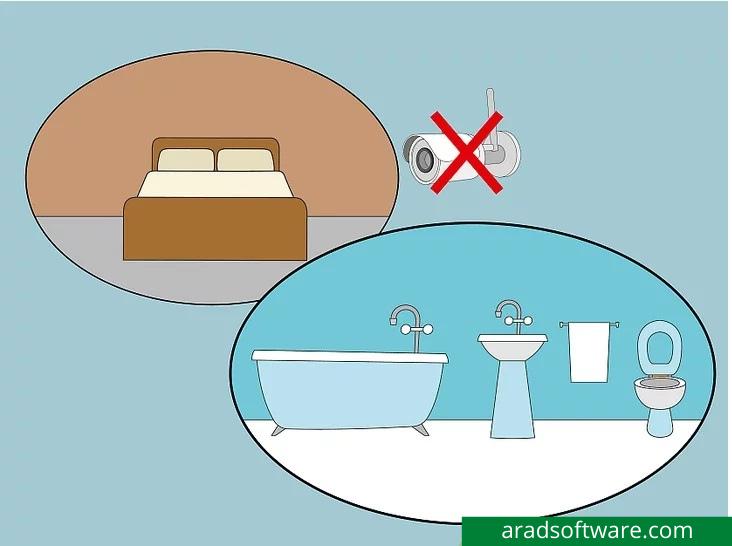 از قرار دادن دوربین در اتاق خواب یا حمام خودداری کنید.