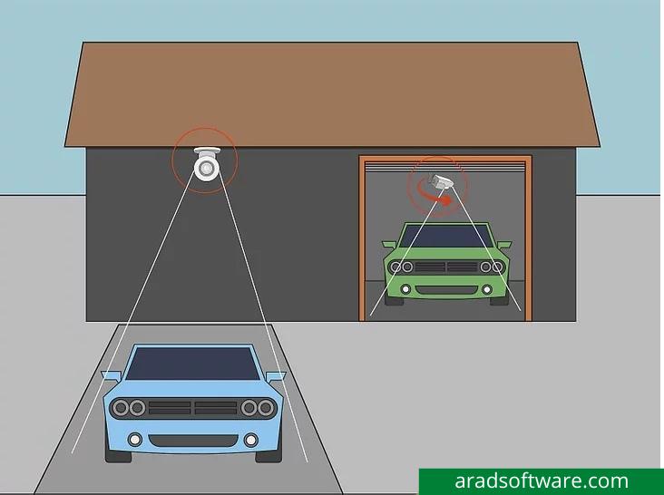 دوربین ها را بالای گاراژ یا ورودی اتومبیل قرار دهید تا ماشین خود را تماشا کنید.